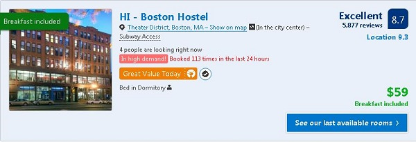 Hostelling International Boston Hotel rates